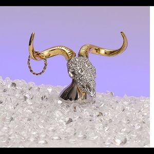 NWOT Alexis Bittar Crystal & Gold Ram Ring holder